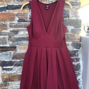 Maroon Pleated Short Dress
